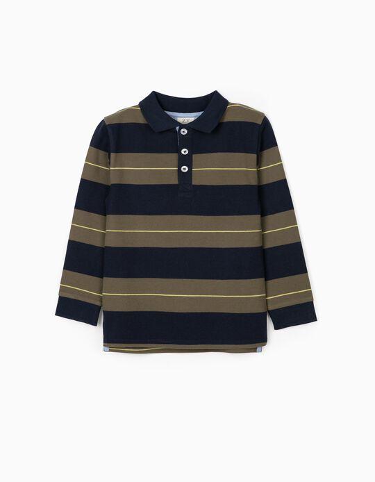Long Sleeve Polo Shirt for Boys, Green/Blue