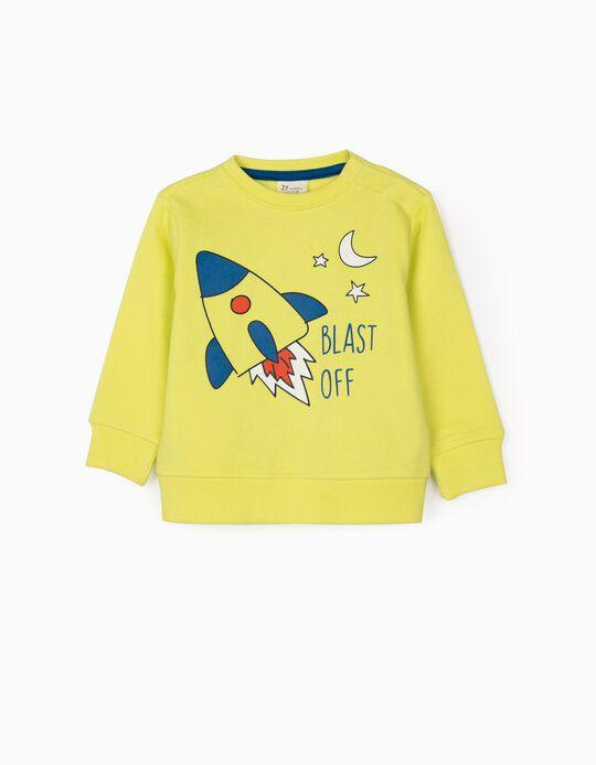 Sweatshirt para Bebé Menino 'Blast Off', Amarelo Lima
