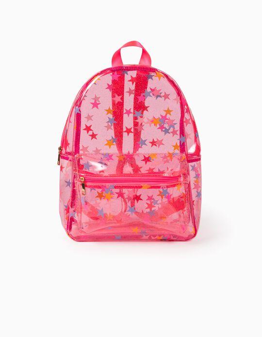 Transparent Backpack for Girls, 'Stars', Pink