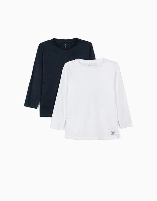 2 T-shirts Manga Comprida para Menino, Azul Escuro/Branco