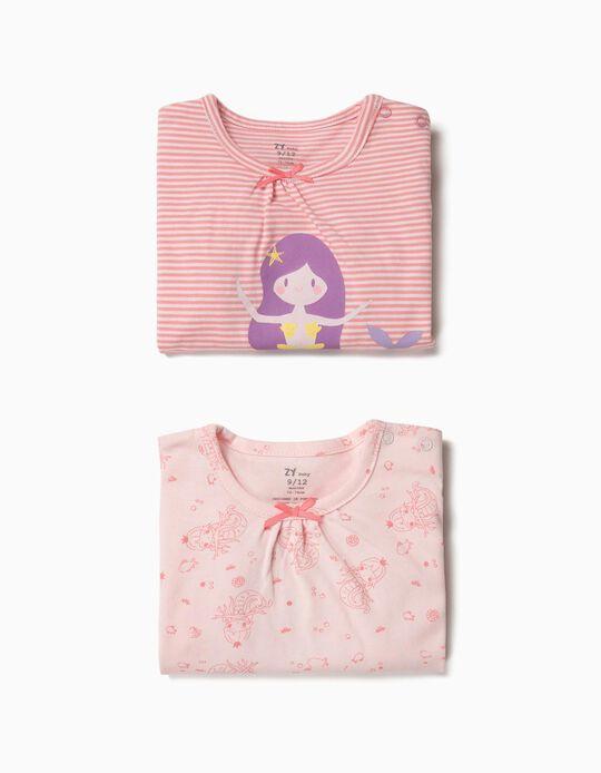 2 Peleles para Bebé Niña 'Mermaid', Rosa