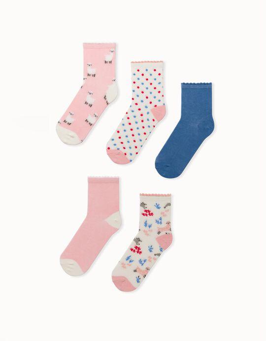 5 Pairs of Socks for Girls 'Sheep', Multicoloured