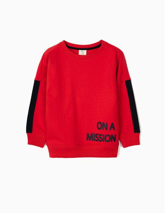 Sweatshirt para Menino 'On a Mission', Vermelho