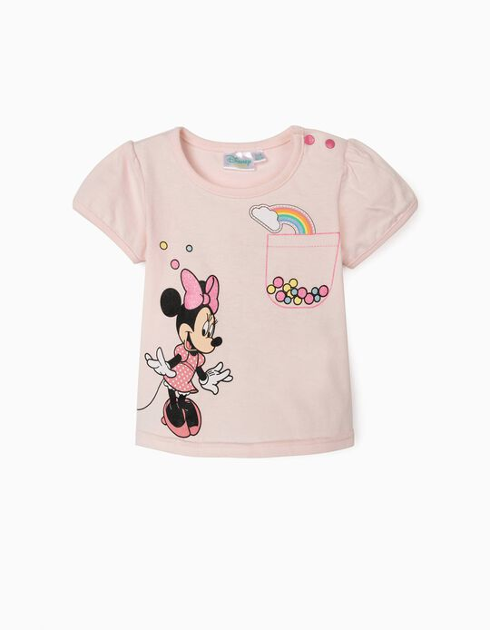 T-shirt for Baby Girls, 'Minnie Rainbows', Pink