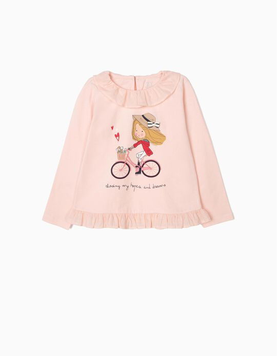 Camiseta de Manga Larga para Niña 'Chasing Dreams' con Volantes, Rosa