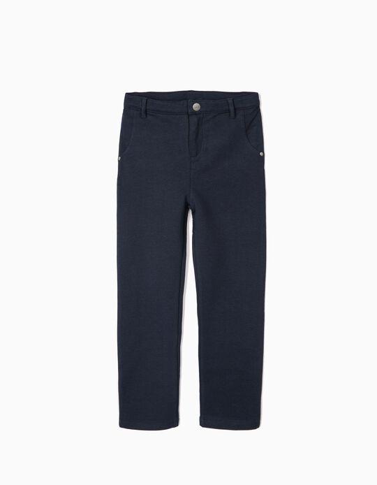 Calças Jersey para Menina, Azul Escuro