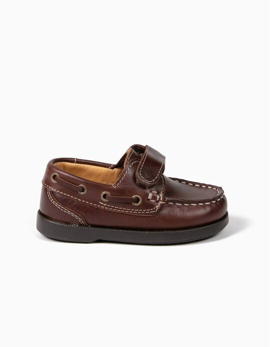 Leather Boat Shoes for Baby Boys, Dark Blue