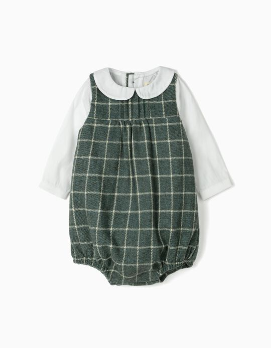 Dual Fabric Romper for Newborns 'B&S', Green