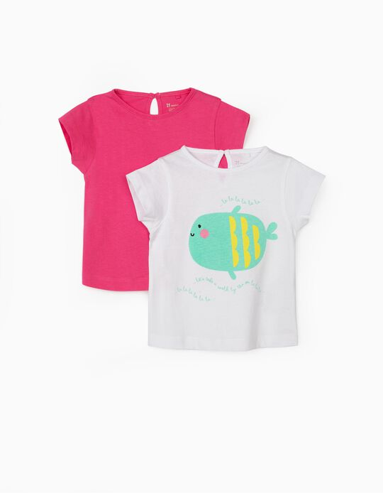 2 T-shirts for Baby Girls, 'Walk by the Sea', White/Pink