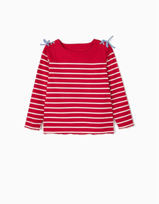 T-shirt de Manga Comprida para Menina Riscas, Vermelho e Branco