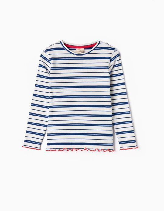 Camiseta de Manga Larga de Canalé para Niña a Rayas, Blanca y Azul