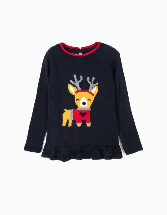 Camisola de Malha Rena Natal Azul