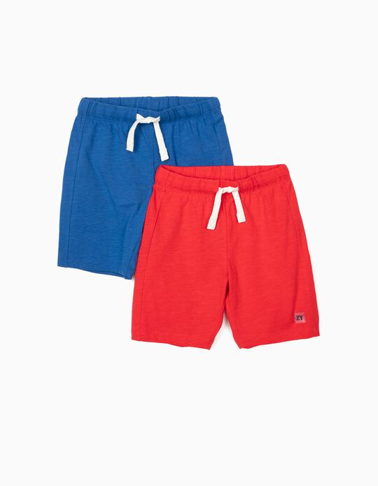 2 Pairs of Shorts for Boys, Red/Blue