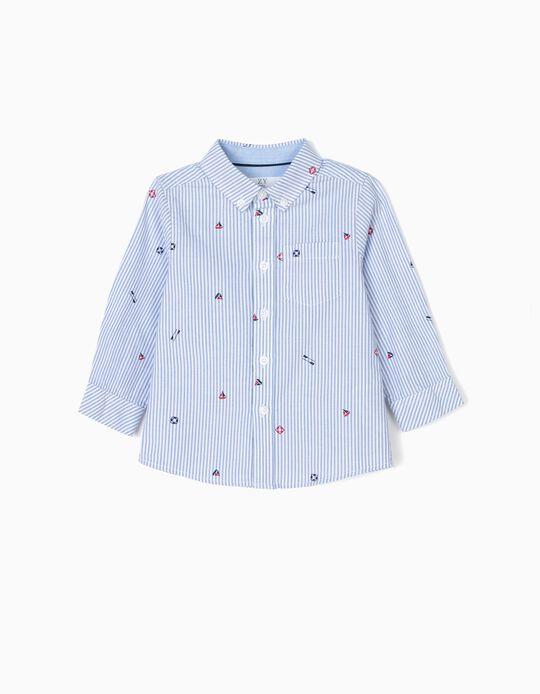 Camisa para Bebé Menino 'Sailor' Riscas, Azul e Branco