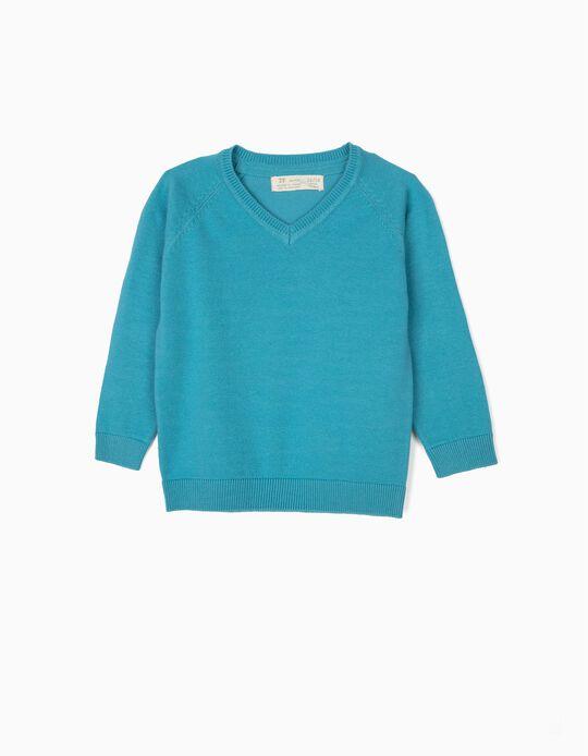 Camisola de Malha para Bebé Menino, Azul Claro