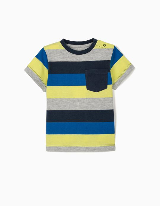 Striped T-shirt for Baby Boys, Grey/Blue/Lime Yellow