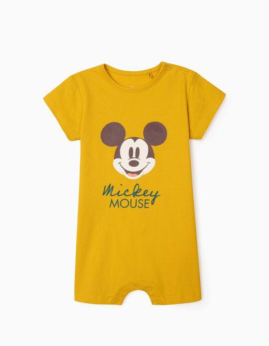 Grenouillère coton bio bébé garçon 'Mickey', jaune