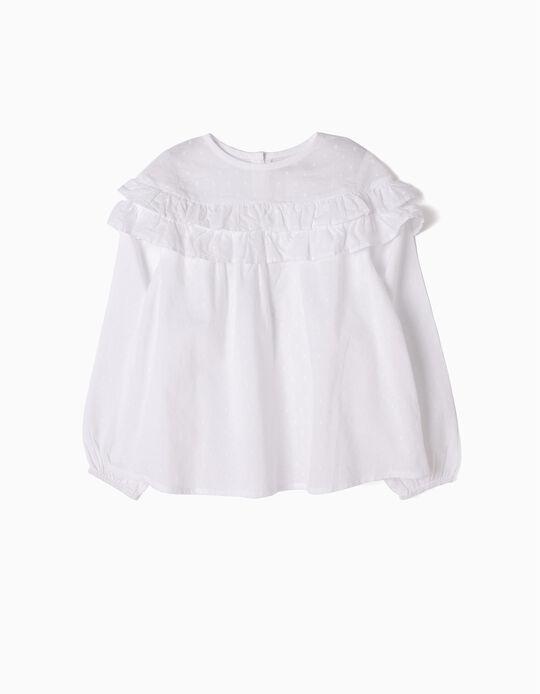 Blusa Branca Folhos Swiss Dot