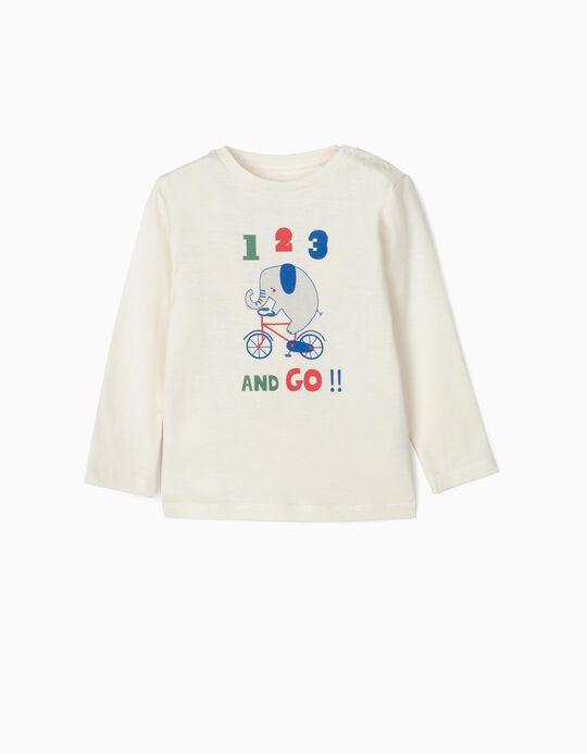 Camiseta de Manga Larga para Bebé Niño '123', Blanca