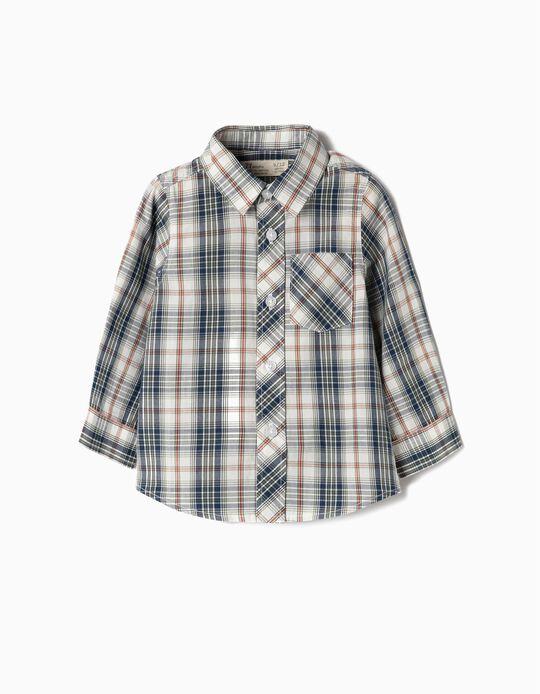 Camisa Manga Comprida para Bebé Menino 'Xadrez', Verde e Branco