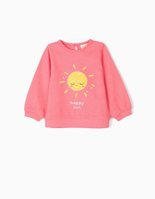 Sweatshirt para Bebé Menina 'Happy Sun', Rosa