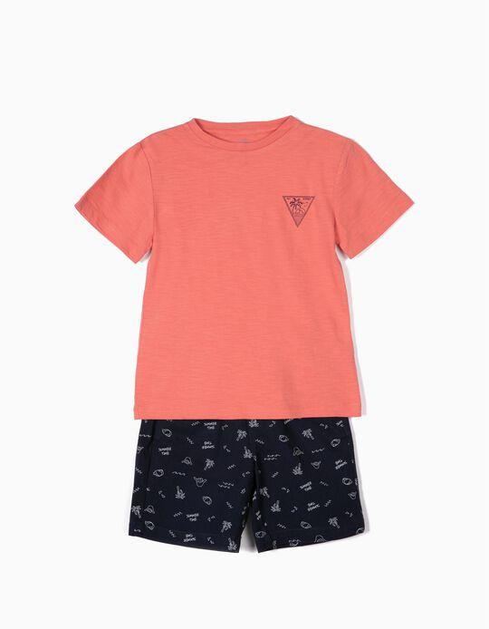 T-shirt e Calções para Menino 'Summer Time', Coral e Azul