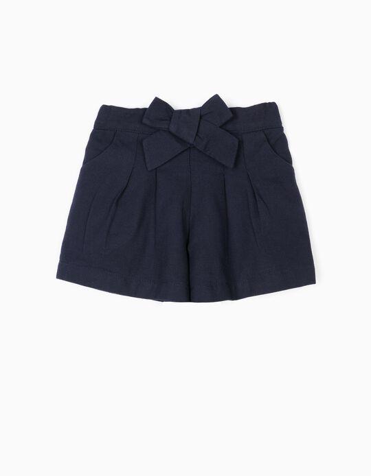 Short para Bebé Niña 'B&S' con Lacito, Azul Oscuro