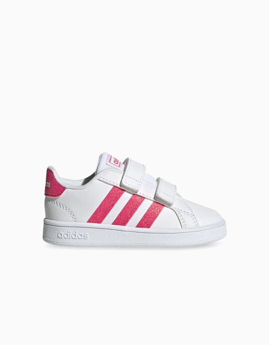 Trainers for Baby Girls 'Adidas Grand Court', White/Pink