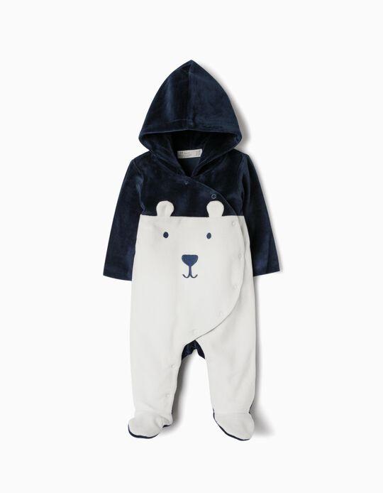 Babygrow Veludo com Capuz para Recém-Nascido, Branco e Azul Escuro
