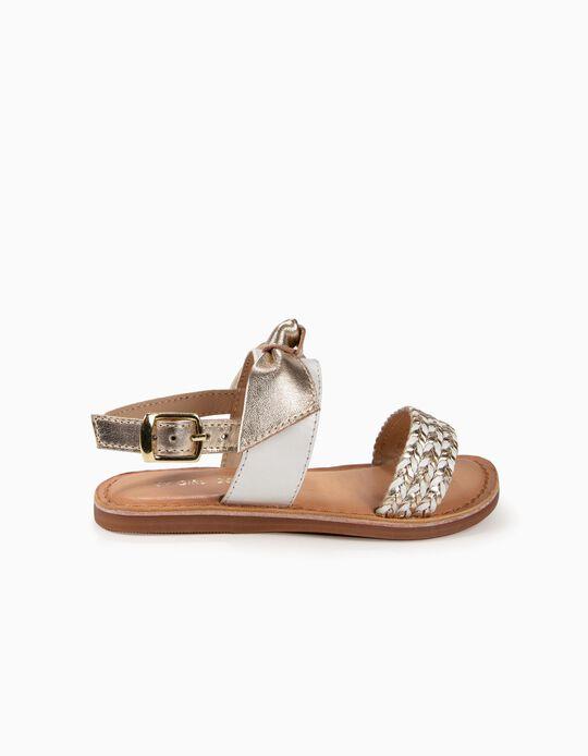 Sandálias de Pele para Menina com Laço, Dourado e Branco