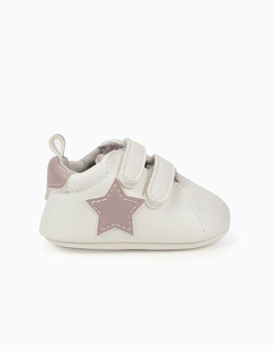 Sapatilhas para Recém-Nascida 'Estrelas', Branco e Lilás