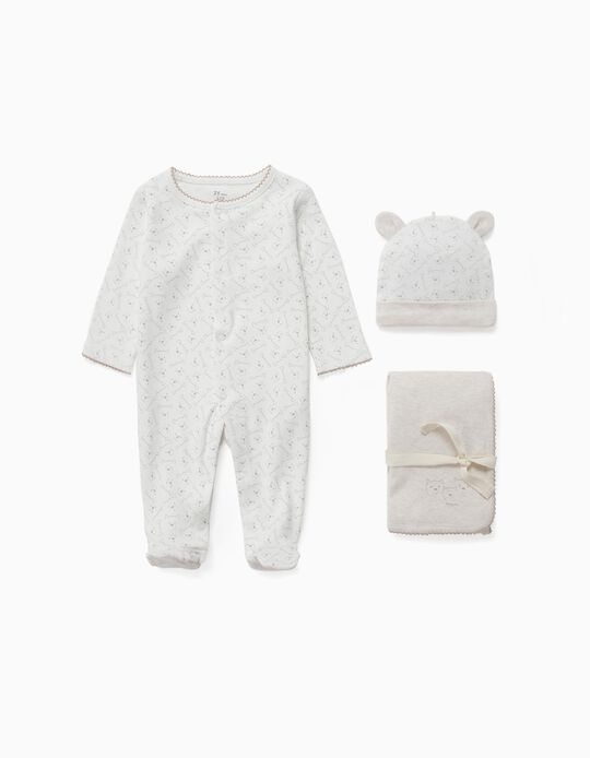 Conjunto 3 Prendas para Recién Nacido 'Family Bear', Beige/Blanco