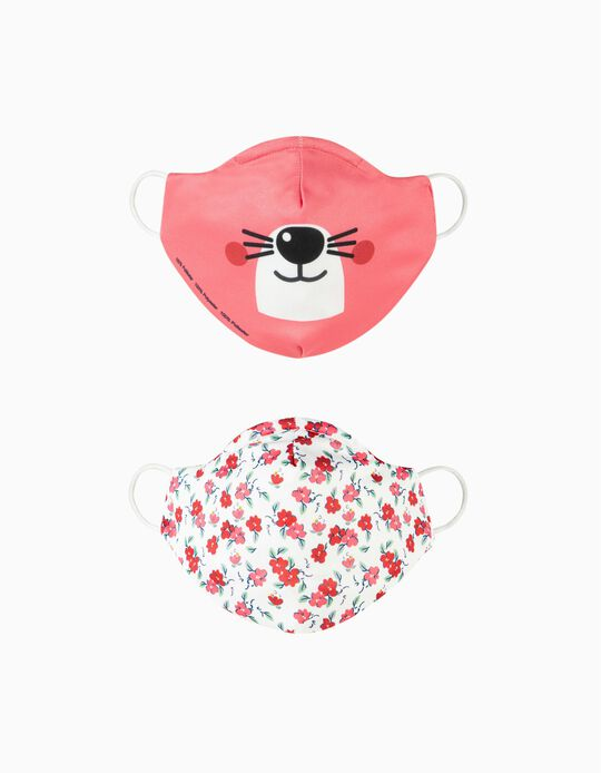2-Pack Child Face Masks 'Air', Bear and Flowers