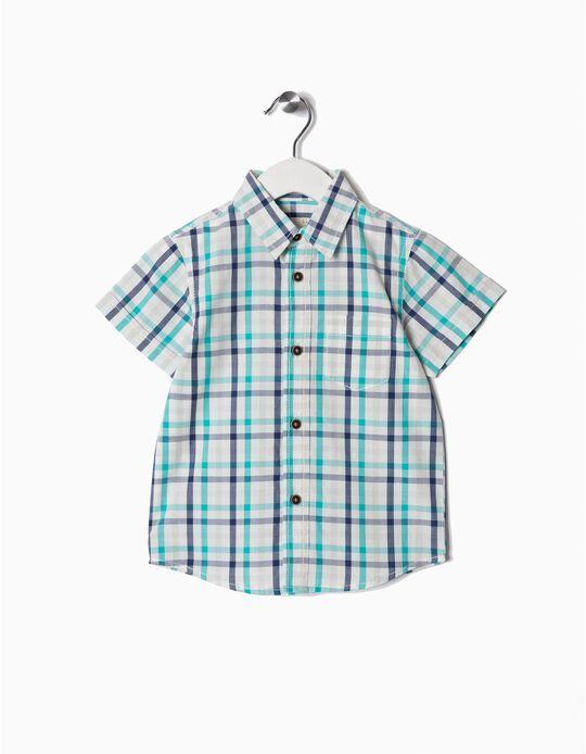 Camisa Manga Curta para Bebé Menino 'Xadrez', Branco