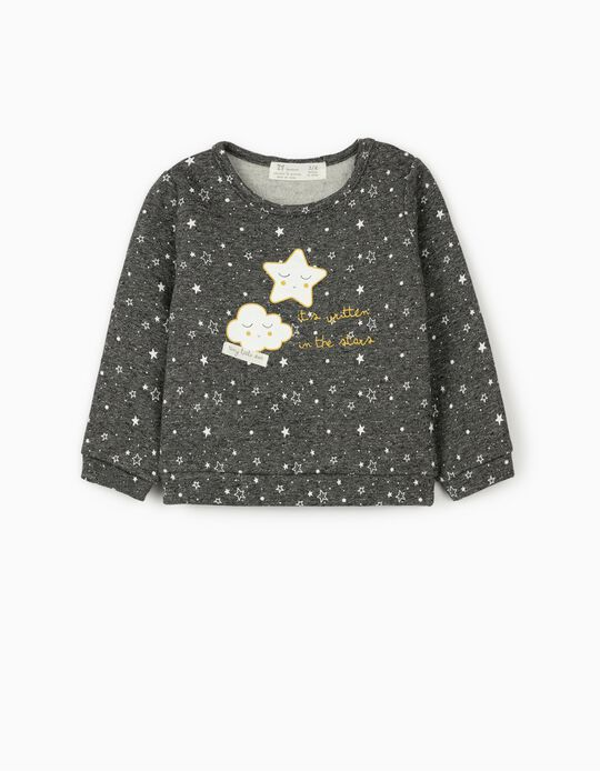 Sweatshirt for Newborn Baby Boys 'Stars', Grey