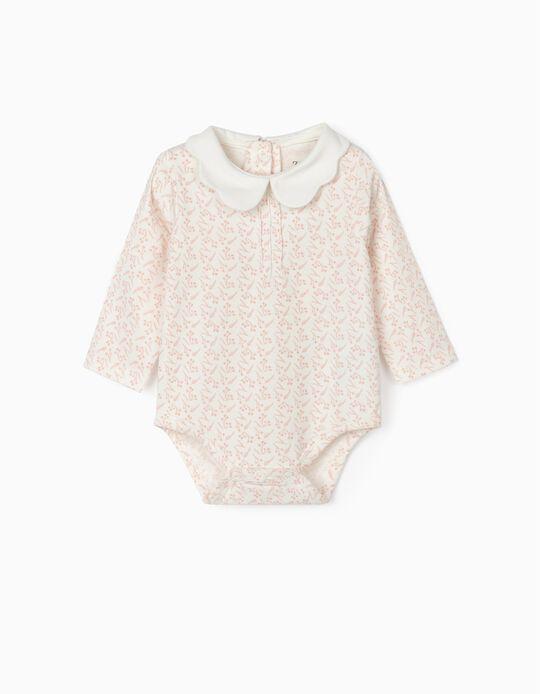 Floral Bodysuit for Newborn Baby Girls, White