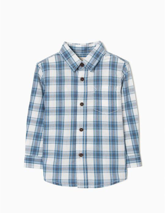 Camisa para Bebé Niño a Cuadros, Blanca y Azul