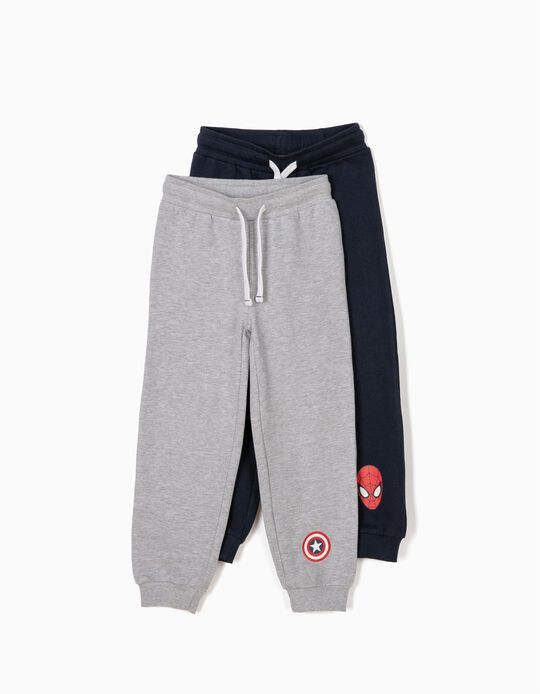 Pack 2 Pantalones de Chándal Marvel Gris y Azul