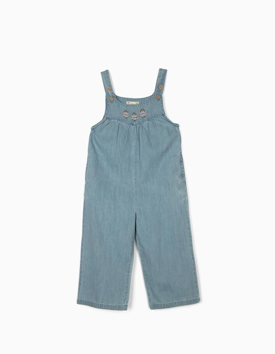 Salopette Denim fille, bleu clair
