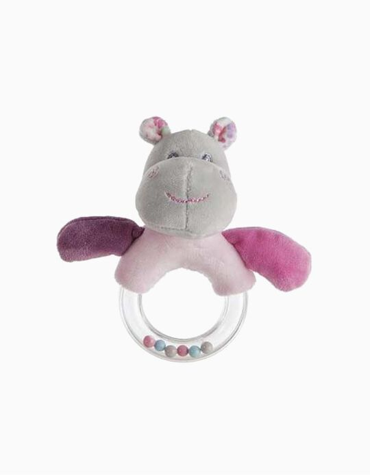RATTLE 14CM HIPPO LITTLE KIDS PINK