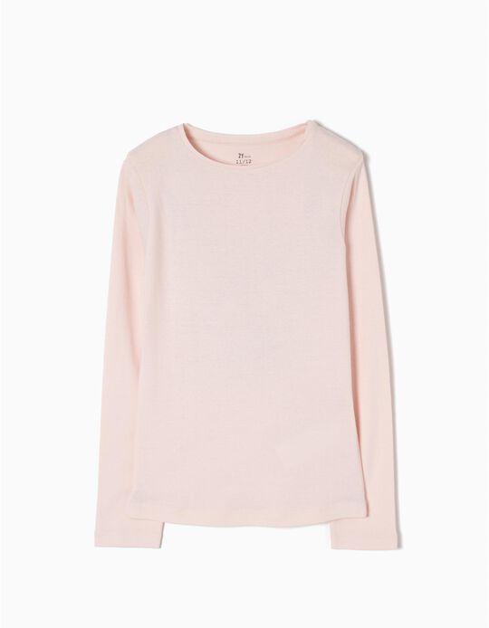 Camiseta de Manga Larga Básica Rosa