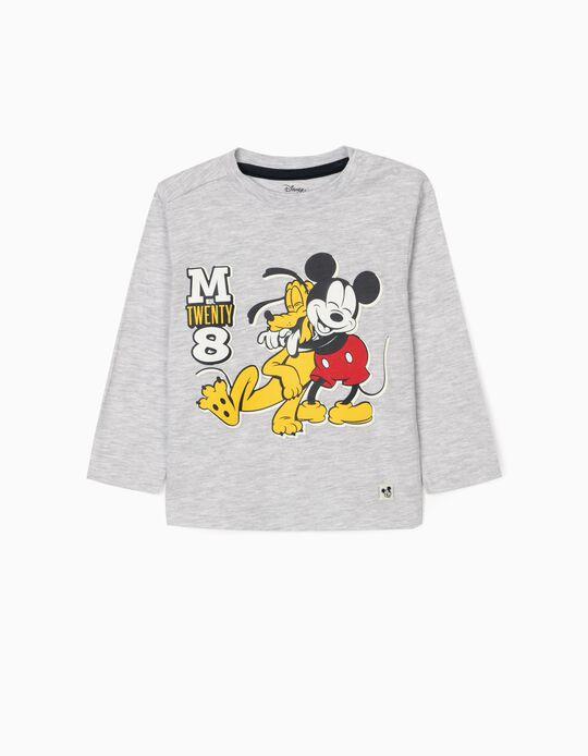 Long Sleeve Top for Baby Boys, 'Mickey & Pluto', Grey