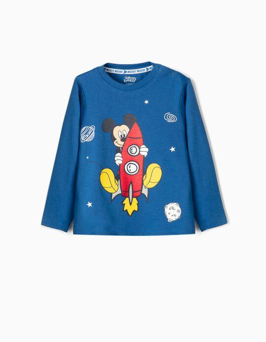 Camiseta de Manga Larga para Bebé Niño 'Mickey Rocket', Azul