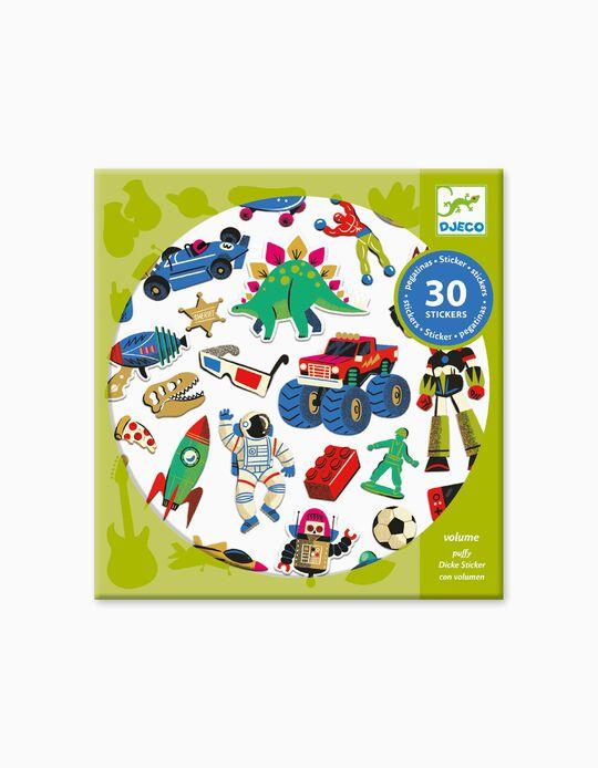Adhesivos Retro Toys Puffy Djeco 30 piezas