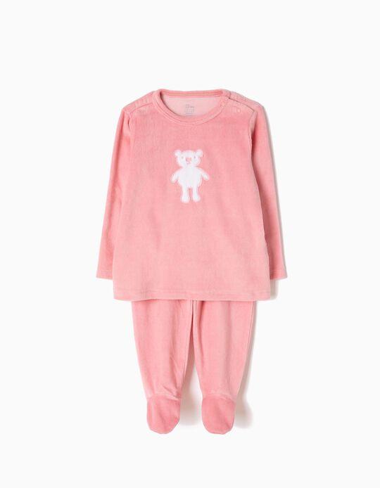 Pijama Veludo com Pés Ursinho Rosa