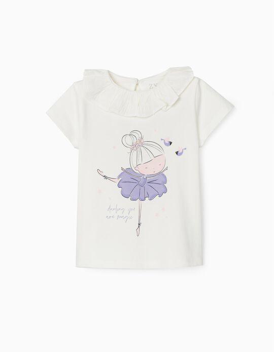 T-shirt for Baby Girls, 'Ballerina', White