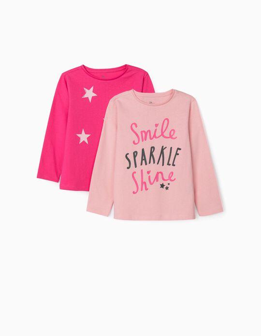 2 T-shirts Manga Comprida para Menina 'Smile', Rosa