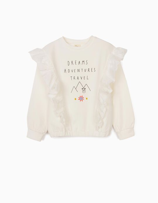 Sweatshirt with Ruffles for Girls, 'Adventure', White