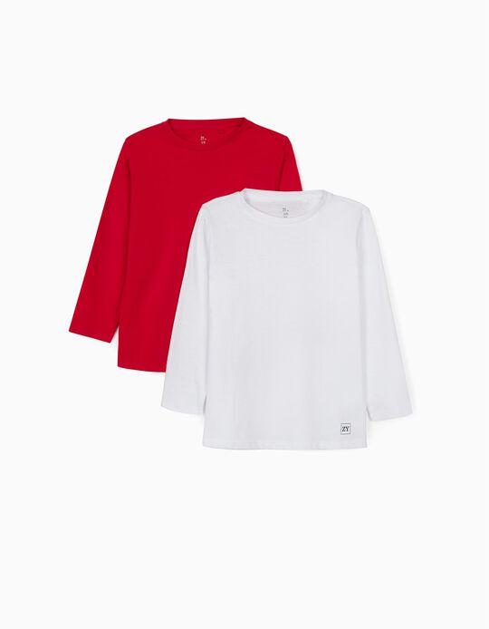 2 T-shirts Manga Comprida para Menino, Vermelho/Branco