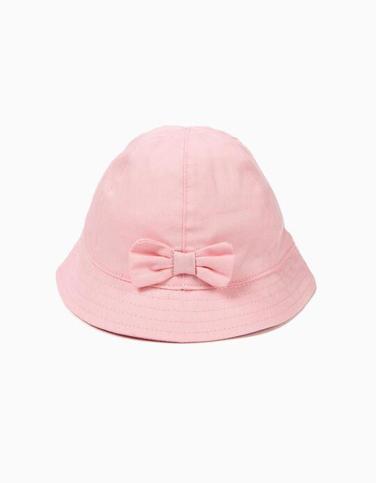 Chapéu para Menina com Laço, Rosa Claro
